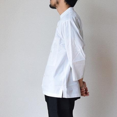 【3/4袖の魅力全開!】LA MOND  ラモンド  3/4袖 バンドカラーシャツ ホワイト