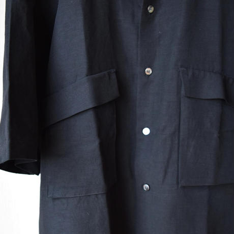 【袖を通すごとに増す魅力!】UNITUS ユナイタス ハーフスリーブ オーバーシャツ ホワイト/ブラック