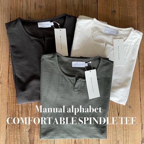 Manualalphabet  COMFORTABLE SPINDLE TEEマニュアルアルファベット シアサッカー キーネック TEE