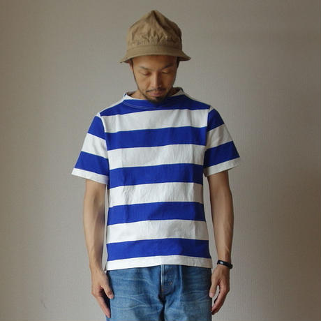 【RECOMMEND】nisica ニシカ  GANSEY NECK CUTSEWN S/S ガンジーネックカットソー半袖  WHT×BLE ホワイト×ブルー