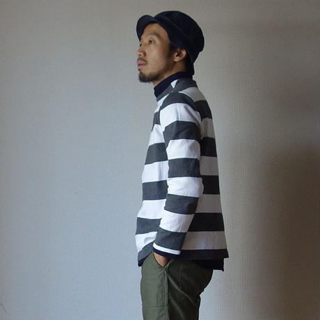 【RECOMMEND】nisica ニシカ  GANSEY NECK CUTSEWN ガンジーネックカットソー WHT×GRY ホワイト×ブラック
