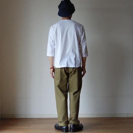【ラスト1枚!】nisica mokusiro ニシカ モクシロ SNAP HENRY NECK 3/4 SLEEVE CUTSEWN スナップヘンリー七分袖カットソー WHT ホワイト