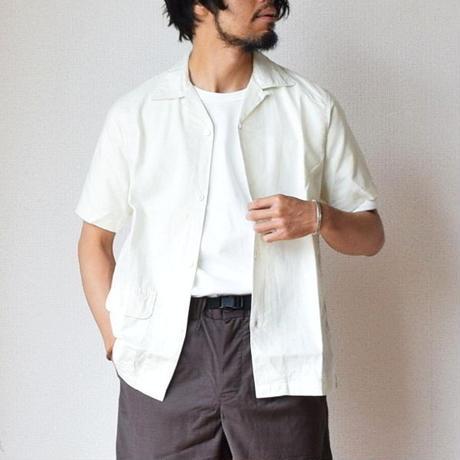 【ジャストフィットの開襟シャツ】WORKERS  コットンリネン オープンカラーシャツ アイボリー/ブラウン
