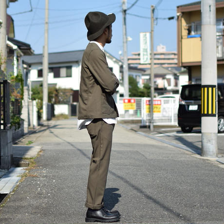 【完売御礼】SETTO  SHRINK TWILL NO COLLAR COVERALL&SMART PANTS OD セット ノーカラーカバーオール&スマートパンツ オリーブ ※単品販売可