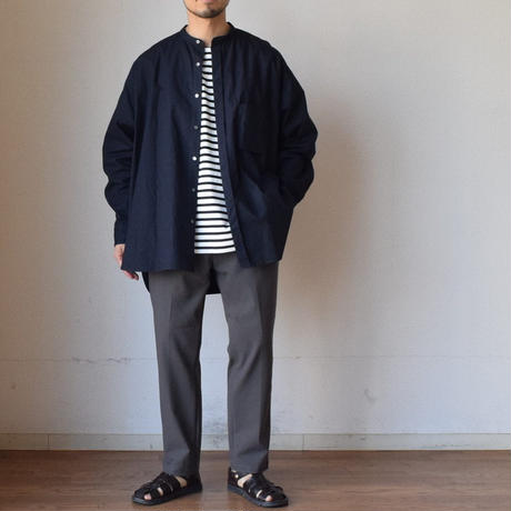 【シャツもやっぱり感動シルエット!】UNITUS CIGARETTE POCKET SHIRT ユナイタス シガレットポケットシャツ アイボリー/ネイビー