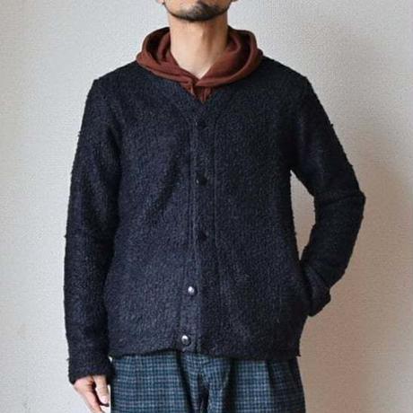 【ボア風カーディガン!】Re made in tokyo japan   ウールリング Vカーディガン  ブラウン/ネイビー