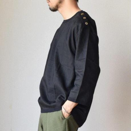 【フレンチテイストのリネンシャツT!】Re made in tokyo japan Linen Canvas Button Basque  リネンキャンバス 3/4袖 バスクシャツ