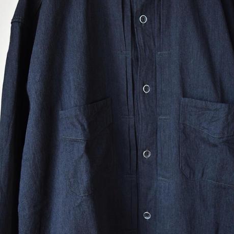 【ビンテージ感漂うデザインに注目!】F.O.B FACTORY デニムバンドカラーシャツ インディゴ/ブラック