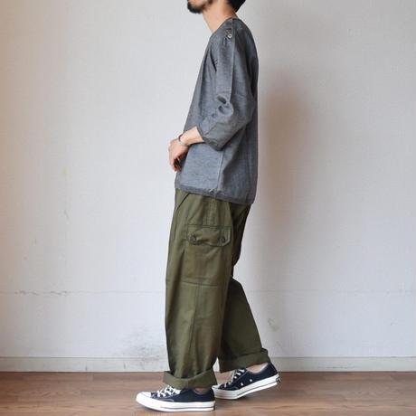 【フレンチテイストのリネンシャツT!】Re made in tokyo japan Linen Canvas Button Basque  肩ボタン 3/4袖  バスクT  4カラー