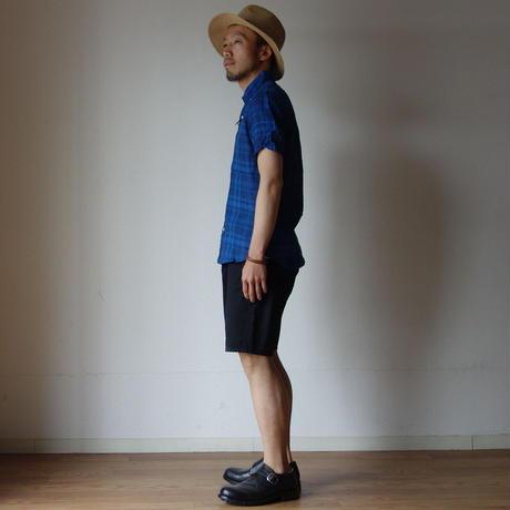 【ラスト1枚!】Audience オーディエンス  LINEN  BD SHIRT ワイドスプレッドカラー リネンBDシャツ BLE×NVY ブルー×ネイビー