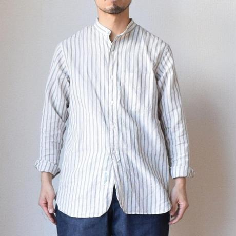 【春のシャツスタイルをクールに!】A VONTADE ア ボンタージ  コットンリネン ストライプ バンドカラーシャツ