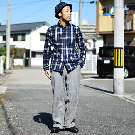 【ラスト1本!】nisica mokusiro by nisica WOOL WIDE PANTS L・GRY ニシカモクシロbyニシカ  ウールワイドパンツ ライト杢グレー