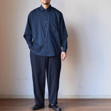 【オーバーシャツ&シャツジャケの2WAYデザイン!】LA MOND COTTON SHIRTS JACKET WITH SIDE POCKET サイド付きシャツジャケット ネイビー