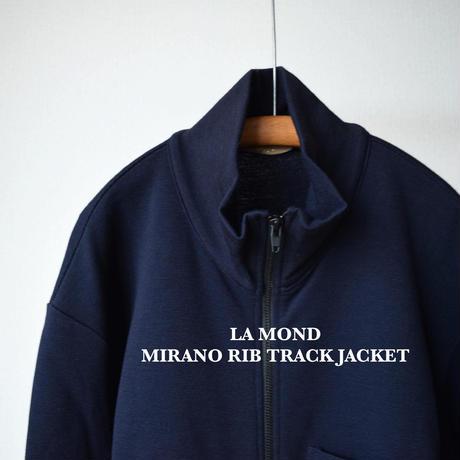【エレガンス&リラックス!】LA MOND MILANO RIB TRACK JACKETラモンド ミラノリブ スタンドネックブルゾン Dネイビー