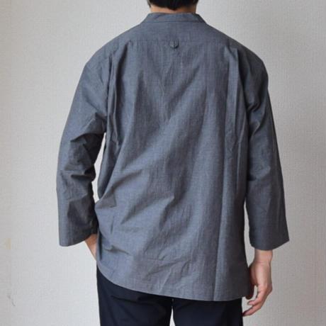 【3/4袖の魅力全開!】LA MOND  ラモンド  3/4袖 バンドカラーシャツ グレー