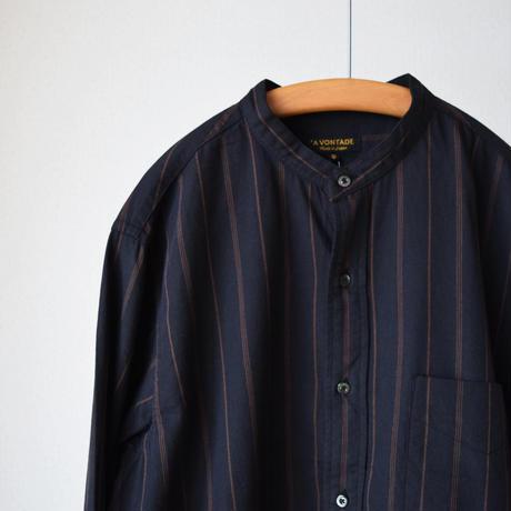 【好評ストライプ柄を秋はビエラで!】A VONTADE ア ボンタージ バンドカラーシャツ  ブラック×ブラウン