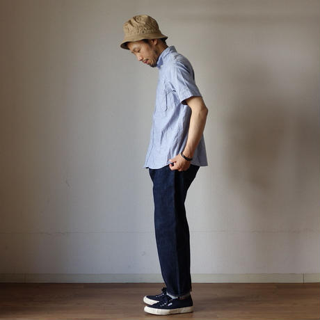 【完売御礼】nisica ニシカ B.D SHIRT SHORT SLEEVE ボタンダウンシャツ半袖 BLU ブルー UNISEX 男女兼用