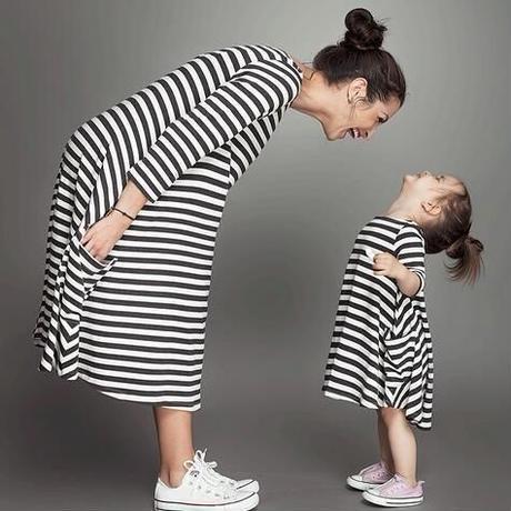 【親子コーデ】ママとおそろいボーダーワンピ