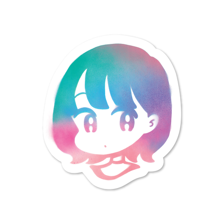 Spray girl sticker