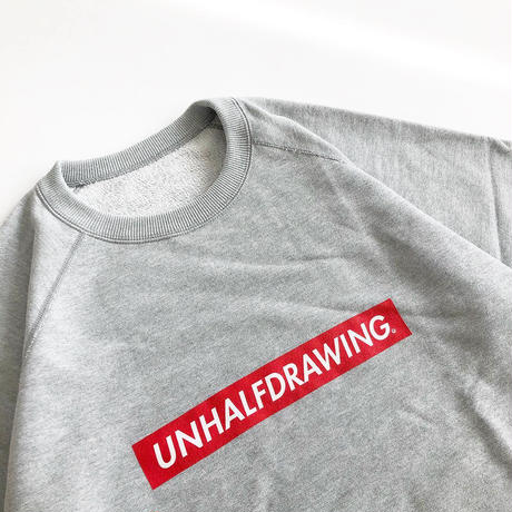 UNHALF DRAWING / SHORT SLEEVE SWEAT / BOX LOGO / GRAY