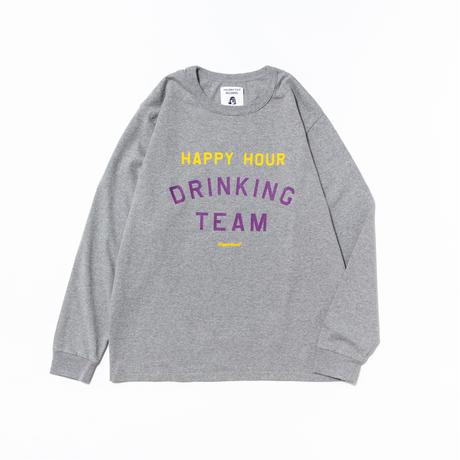 TACOMA FUJI RECORDS / HAPPY HOUR  DRINKING TEAM LS by Shuntaro Watanabe / タコマフジ / ロンT / グレー