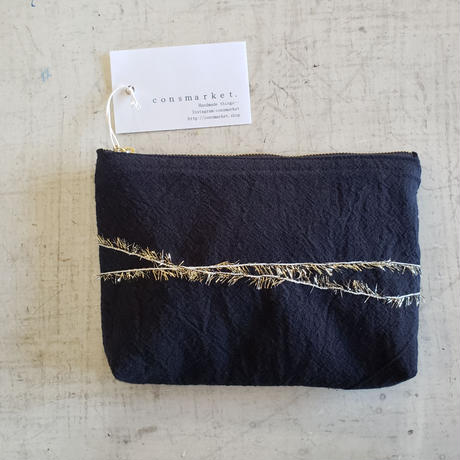 Pouch. black and gold.