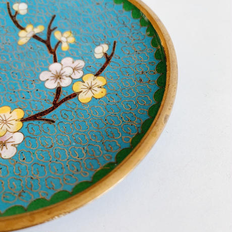 VTG Chinese enamel small plate / Blue
