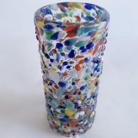 Painted small glass vase