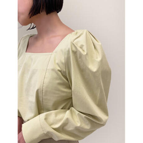 diploa | SQUARE NECK PUFF SLEEVE BLOUSE | Lime Green