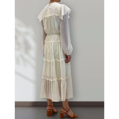 diploa | DOT RUFFLE DRESS | Ivory