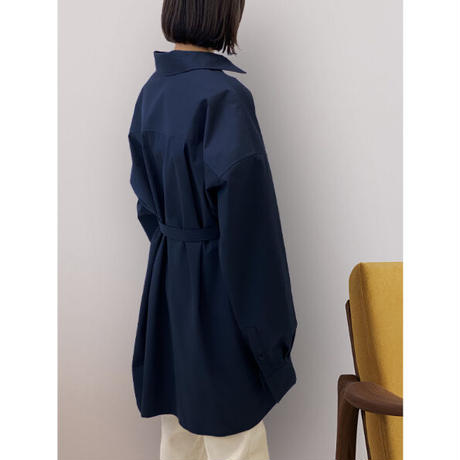 diploa | TIE BELTED OVERSIZED SHIRT | Navy