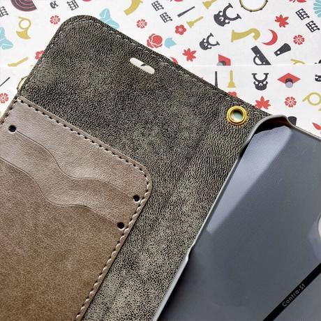 【iPhone12/12 pro限定】手帳型帯なしケース[花札]