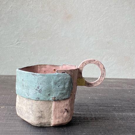 片瀬和宏 貼りマグ水色×ピンク
