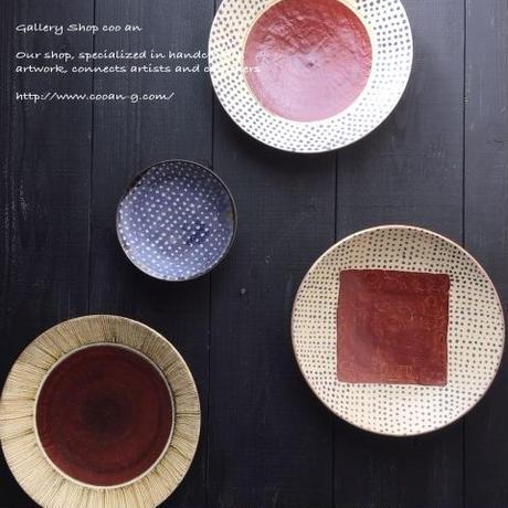 皿 ストライプ×赤丸 南陶窯