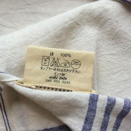 ●送料185円クリックポスト対応●<unisex>niki toto(ニキトト) カディコットン タオル /ブルーライン Lサイズ