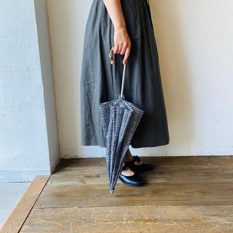 <women>Bon Bon Store(ボンボンストア) ドローイングチェック 折り畳み傘(晴雨兼用)/ブラック