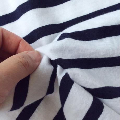 ●送料全国一律198円●<women>FABRIQUE en planete terre(ファブリケアンプラネテール)5分袖ボーダーAラインバスクTシャツ(201031) / ブラック