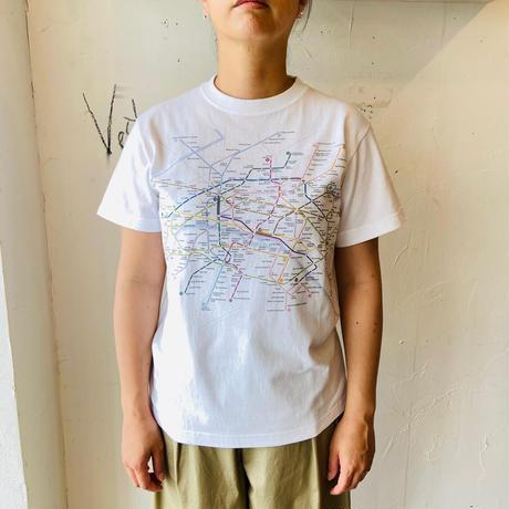 ●送料全国一律198円●<women>Harriss(ハリス)パリメトロ路線図プリントTシャツ(HK201-38256) / ホワイト