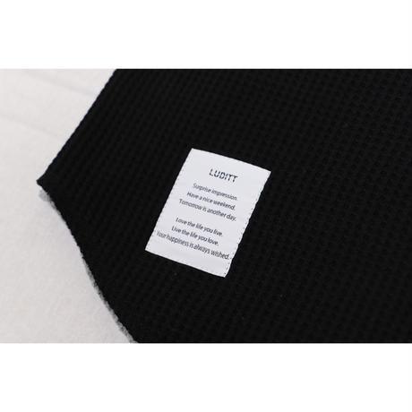 WAFFLE LONG SLEEVE T-SHIRT / BLACK <L-2013>