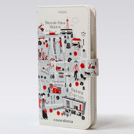 コーディニア iPhone ケース(手帳型)福岡地図 レッド