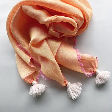 silk/linen shambray with tassel [lightgray/orange/pink]