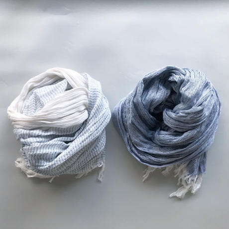 "silk/cotton ""SOFT CRAPE"" stole [blue-border/blue]"