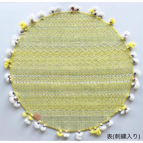 COOVA©️トライバルラグ [Φ80cm] 刺繍+タッセル
