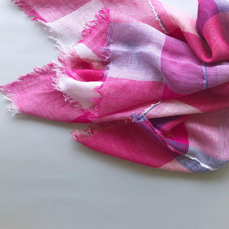"""LINEN BROCK CHECK"" stole [pink]"