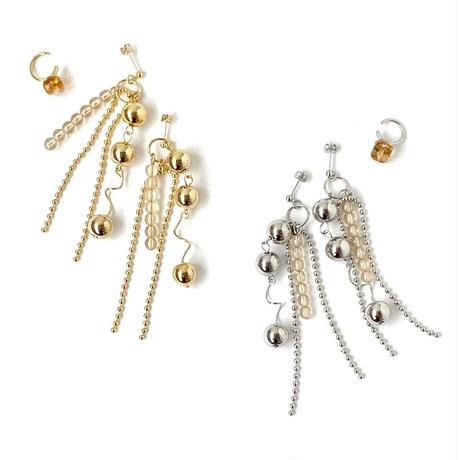 [ silver ] Ball chain pierce/earring + ear cuff set