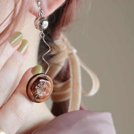 [ brown / silver ]  glitter une pierce/earring