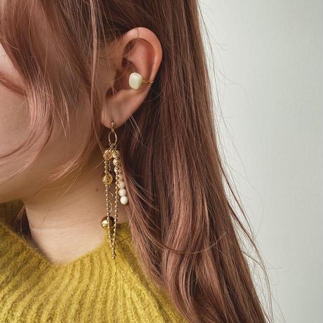 [ silver ×white] Ball chain pierce/earring + ear cuff set