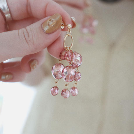 [gold]coral shower pierce/earring