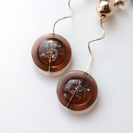 [ brown / gold ]  glitter une pierce/earring