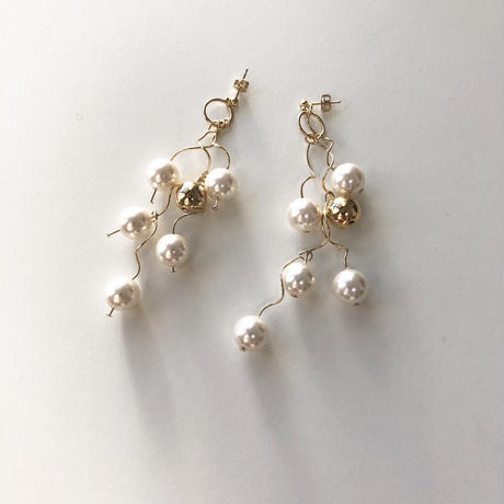 [silver]une pearl ball pierce/earring